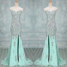 Fully Crystal Beading Sweetheart Chiffon Evening Dresses With Leg Slit