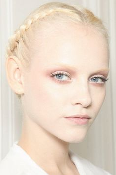Backstage at Valentino Haute Couture Spring 2011, soft pink accents with pale pink lips