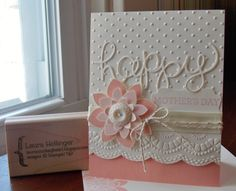 Stampin' Up! hand crafted card from Laura's Works of Heart: CRAZY ABOUT YOU . white and cantaloupe . die cut layered flower and HAPPY . embossing folder dots and big scallop border . Desserts Valentinstag, Embossed Cards, Embossed Christmas Cards, Stamping Up Cards, Fathers Day Cards, Cute Cards, Easy Cards, Pretty Cards, Creative Cards