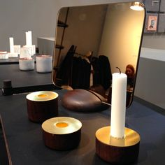 Maison&Objet January 2014//Gridy Me mirror and Chunk of Wood candle holders by Andreas Engesvik for Menu//flodeau