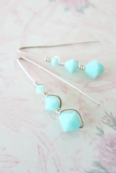 Sterling Silver Swarovski Mint Beads Earrings