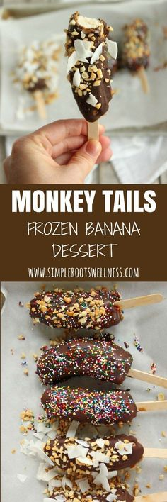 Monkey Tails Frozen Banana Dessert – these simple real food treats are a hit with kids and adults alike.
