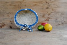 Handmade crochet basket  white  light blue by KnittingInTheKitchen