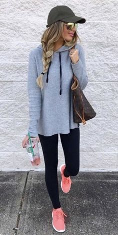Stitch Fix 2017 Fashion! Sign up today & ask your stylist for great items like these. Perfect for the new year! street style! Leggings, hoodies, pink tennis shoes, baseball hat and side braid. Casual but totally stylish athleisure