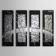 Hand-painted Abstract Oil Painting with Stretched Frame - Set of 4 – USD $ 149.99