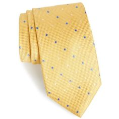Men's Nordstrom Men's Shop Graphic Dots Silk Tie (155 BRL) ❤ liked on Polyvore featuring men's fashion, men's accessories, men's neckwear, ties, gold, mens ties, mens extra long ties, men's silk ties and mens polka dot ties