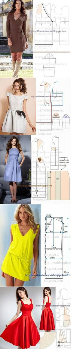 Elegant dresses and patterns to them - Crafts Sewing Dress, Diy Dress, Sewing Clothes, Wrap Dress, Diy Clothing, Clothing Patterns, Dress Patterns, Sewing Patterns, Robe Diy