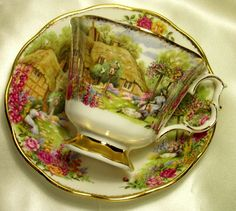 Oh, my! I love this! ~ Royal Albert ~ Tranquil Garden ~ Anniversary Old Country Roses Tea Cup & Saucer