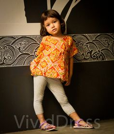 Toddler caftan kids top orange kaftan size 3T age 24 by VividDress, $15.00