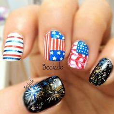 Fourth of July nails. Like the firework nails..