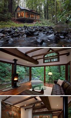 Amazing Tree House Ideas You Need To See Dreamy cabin with a stream running alongside it_ tucked into a forest_ the great outdoors_ nature su Future House, Cabin Homes, Log Homes, Tiny Homes, Tiny House Living, My House, Tiny House Family, Cabins And Cottages, Tiny Cabins