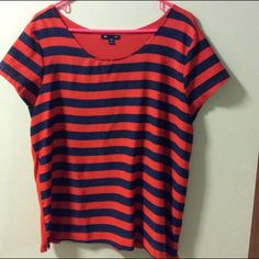 Gap Striped Short Sleeve Blouse Gap short sleeved blouse with blue and red striped front and sleeves. Solid red back. Front: 100% Polyester. Back: 100% Viscose. GAP Tops Blouses