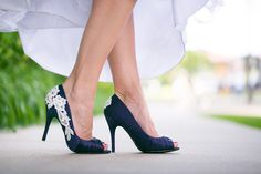 Wedding Shoes - Navy blue heels with lace