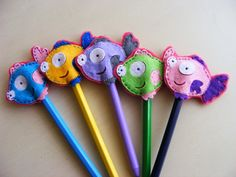 pencil-toppers. Made with sizzix and felt