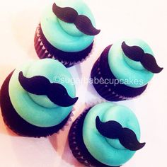 Mustache cupcakes Baby shower cupcakes