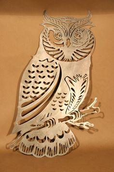 Highly Detailed Owl Plasma Cut Metal Wall Art Hanging Home Decor - Debra Ortega Metal Tree Wall Art, Hanging Wall Art, Metal Artwork, Metal Projects, Metal Crafts, Corte Plasma, Sculpture Metal, Tree Sculpture, Beautiful Owl