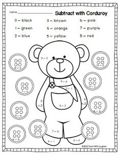 Teach With Laughter: Corduroy Subtraction Freebie