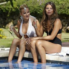 Busty display: Georgia Kousoulou once again reigned champion as she kicked back poolside at a fancy Spanish resort while filming the Marbella TOWIE special