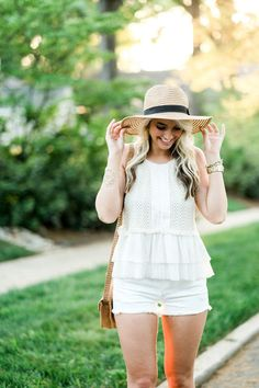 All White Outfit with a Straw Hat | The Cheeky Been
