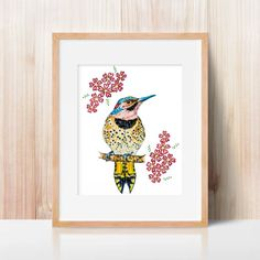Bird and cherry blossom (Print), bird print, children illustration, animal print, nursery decor, reproduction, bird decor, kids illustration
