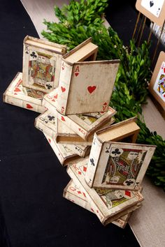 Could be used as a table number and decor. Playing Card Book Boxes (Set of 16)
