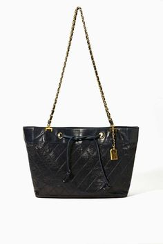 Vintage Chanel Navy Quilted Leather Tote