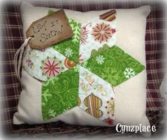 Green Whimsical Christmas Star Pillow by cynzplace on Etsy