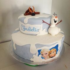 """Disney """"frozen"""" cake with Princess' and name printed on edible paper with edible ink and handmade figurines made by Stephanie and uploaded to the inkedibles.com February Inkedibles Cake Contest"""