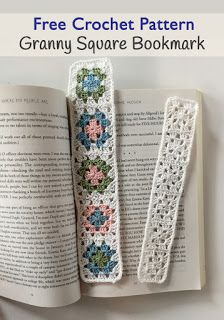 Granny Square Bookmark FREE crochet pattern, Little Monkeys Design, © 2016 Angela Plunkett. More