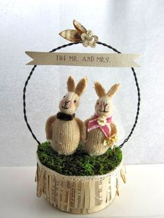 "The Mr. and Mrs. Darling Bunny Light Weight Topper Suitable for an 8 or 6"" Round"