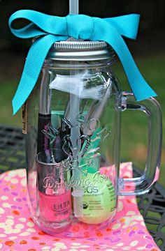 Nail polish, EOS chapstick, Sharpie pens  gum - all in a cute mason jar tumbler.