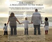 Family Proclamation LDS pictures.... Super Saturday idea to print on transparent paper to go over family photos