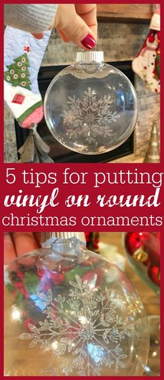 5 Tricks to Putting Vinyl Designs on Round Christmas Ornaments (Silhouette Video Tutorial) 5 tricks to putting vinyl on round ornaments Vinyl Ornaments, Diy Christmas Ornaments, Christmas Balls, Christmas Projects, Holiday Crafts, Christmas Decorations, Ornaments Ideas, Homemade Christmas, Custom Ornaments