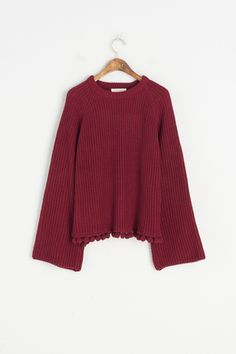 Pompom Detail Jumper, Wine