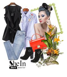 """Shein shirt"" by irinavsl ❤ liked on Polyvore featuring Furla and WithChic"