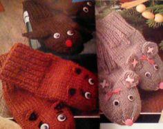Vintage Animal Puppet Mitten Knitting Patterns