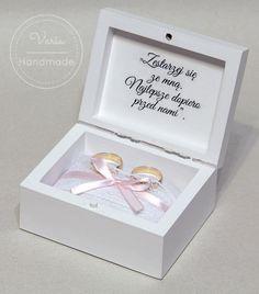 Pudełko na obrączki Weeding, Decoupage, Wedding Invitations, Decorative Boxes, Marriage, Bride, Handmade, Diy, Decorated Boxes