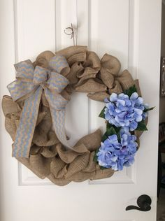 A personal favorite from my Etsy shop https://www.etsy.com/listing/226982681/spring-burlap-wreath-with-violet