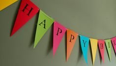 Happy Birthday Banner (Bunting, Sign, Flags, Pennants) in creamy colors. Perfect for Party Decoration