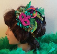 Mardi Gras Headband, Mardi Gras Masquerade Headband, New Orleanes Mardi Gras Headband, Carnival Headband, Mardi Gras Accessory by SundayChildBoutique on Etsy https://www.etsy.com/listing/263020960/mardi-gras-headband-mardi-gras