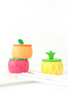 Create DIY Fruity Wooden Bracelet Trinket Boxes with a wooden bracelet and clay to create the perfect desk accessory