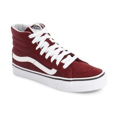 Women's Vans Sk8-Hi Slim High Top Sneaker ($65) ❤ liked on Polyvore featuring shoes, sneakers, wine suede, suede leather shoes, slim shoes, vans footwear, suede high tops and wine shoes