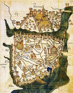 Map of Constantinople (modern Istanbul), designed in 1422 by Florentine cartographer Cristoforo Buondelmonti; the oldest surviving map of the city, and the only surviving map which predates the Turkish conquest of Constantinople in 1453.