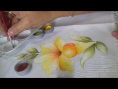 Pintura em Tecido. Aprenda pintar Lírios, Folhas e Fundo. - YouTube
