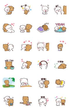 Milk & Mocha: Unstoppable Lovers Sticker for LINE, WhatsApp, Telegram — Android, iPhone iOS Emoji Drawings, Cute Bear Drawings, Cute Cartoon Drawings, Cute Kawaii Drawings, Cartoon Pics, Cute Couple Cartoon, Cute Love Cartoons, Bear Gif, Cute Love Gif