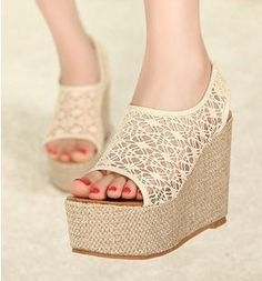 Elegant Hollow Lace Wedge Sandals on BuyTrends.com, only price $25.00