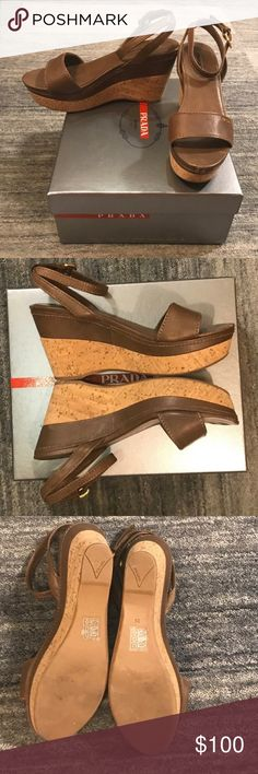 Women's Brown Prada Wedges Authentic Dark brown leather Prada women's Wedge with golden buckle Clasps at ankles.  Run true to size.  Heel height is 3.5 inches. Platform 1.5 inches.  Good condition.  Worn Twice Only selling to make room in my closet.  I have the original box and dust bag.   Reasonable offers accepted. No Trades ❌ Posh Transactions Only ✔️ Bundles Welcome!✔️ All Items Come From a Smoke Free House Prada Shoes Wedges