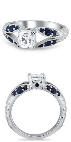 Sapphire Accent Split Shank Ring