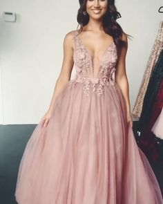 V Neck Pink Tulle Long Prom Dresses Evening Dresses with Appliques - - pink prom long dresses evening dresses Source by annaosenau Grad Dresses Long, Pink Prom Dresses, Beautiful Prom Dresses, Pretty Dresses, Evening Dresses, Bridesmaid Dresses, Formal Dresses, Pink Dress, Maxi Dresses