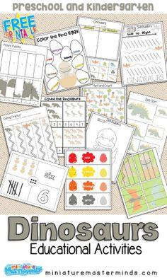 Dinosaur Worksheets, Dinosaur Theme Preschool, Dinosaur Printables, Dinosaur Activities, Free Preschool, Preschool Lessons, Preschool Learning, Educational Activities, Preschool Activities